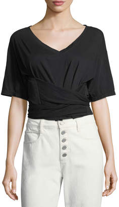 A.L.C. Trinity V-Neck Short-Sleeve Cotton Tee
