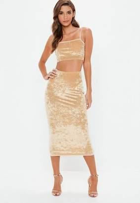 Missguided Mink Crushed Velvet Cami Top Skirt Co Ord Set