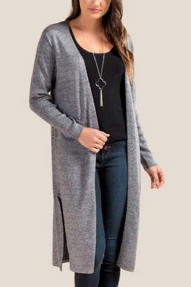 francesca's Shania Side Split Duster Cardigan - Gray