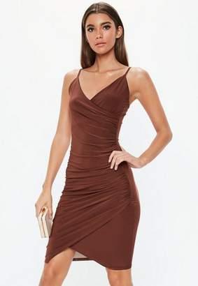 6d54be074159 Missguided Chocolate Strappy Slinky Wrap Bodycon Midi Dress