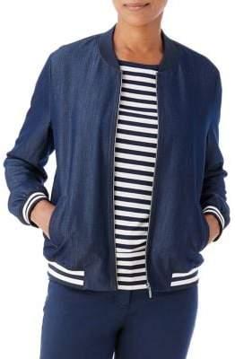 Olsen Stripe Trim Bomber Jacket