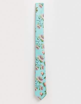 Asos Design DESIGN Wedding slim large scale floral tie in green