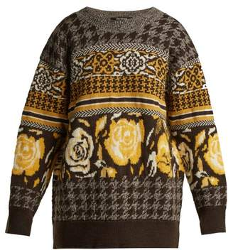 Junya Watanabe Jacquard Knit Wool Blend Sweater - Womens - Brown Multi