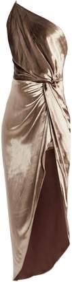 Mason by Michelle Mason Twisted Velvet One-Shoulder Dress