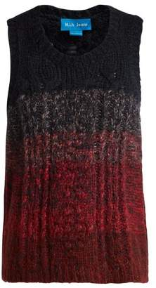 MiH Jeans Clara Pointelle And Cable Knit Vest - Womens - Burgundy Multi