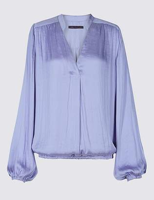 Marks and Spencer Satin Notch Neck Popover Long Sleeve Blouse