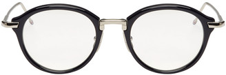 Thom Browne Navy Round Glasses $765 thestylecure.com
