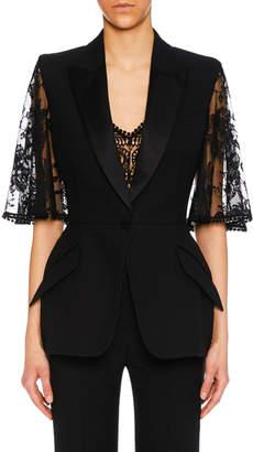 Alexander McQueen Lace Capelet Satin-Lapel Single-Breasted Wool-Silk Blazer