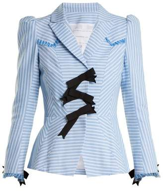 Andrew Gn Striped Bow Embellished Cotton Jacket - Womens - Blue White