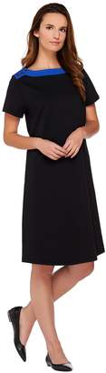Susan Graver Weekend French Terry Color-Block Dress w/Button