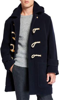 Ami Men's Wool-Blend Hooded Duffle Coat