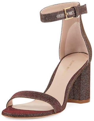 Stuart Weitzman 75LESSNUDIST Metallic Fabric Sandal