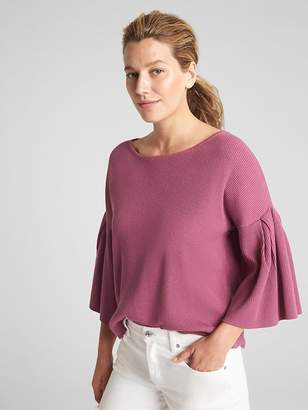 Gap Ribbed Flutter Sleeve Sweater in Silk-Cotton