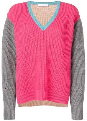 Cruciani colour block V-neck sweater