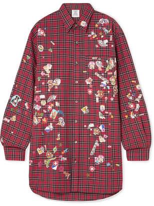 Vetements Oversized Appliquéd Checked Cotton Shirt - Red