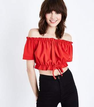 603df2e888f28 at New Look · Bardot Cameo Rose Red Frill Neck Crop Top