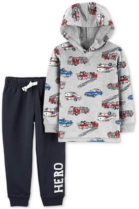 Carter's Baby Boys 2-Pc. Cotton Vehicle-Print Hoodie & Pants Set