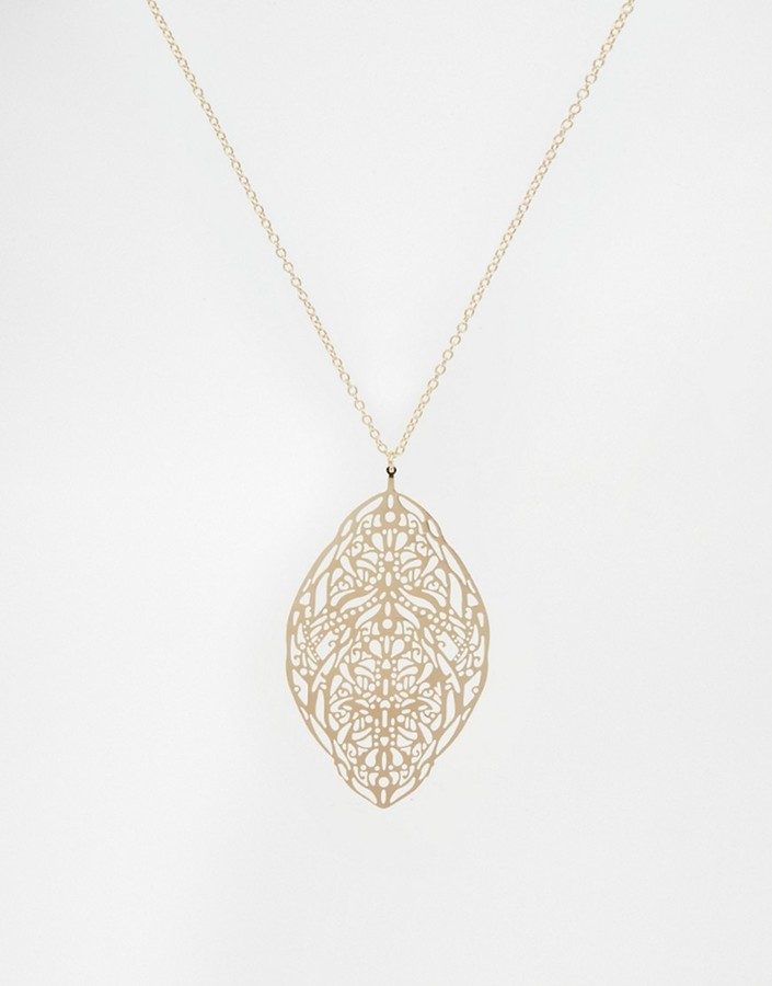 ASOS Filigree Feather Long Pendant Necklace - Gold