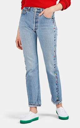 Lisa Perry Women's Fleurty Embroidered Jeans - Blue