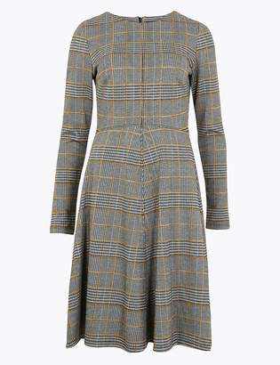 Marks and Spencer Multi Checked Fit & Flare Midi Dress