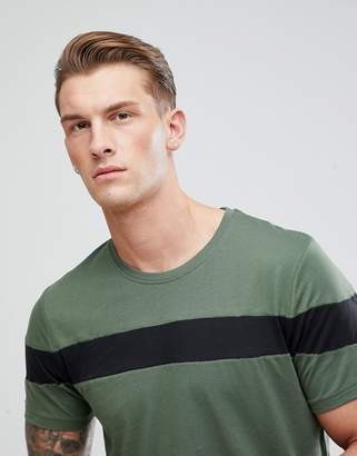 ONLY & SONS Longline T-Shirt With Cut And Sew Stripe