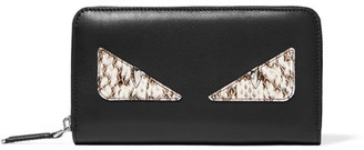 Fendi - Monster Eyes Leather And Elaphe Continental Wallet - Black $750 thestylecure.com