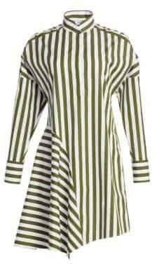 Akris Punto Asymmetric Wool Stripe Shirtdress