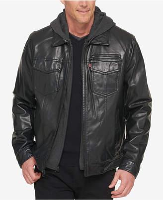 Levi's Men's Faux Leather Trucker Jacket with Bib & Hood