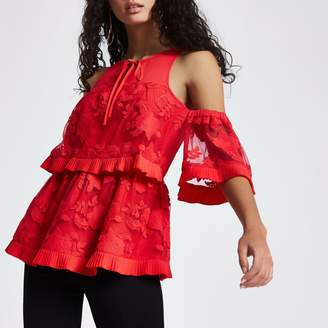 River Island Womens Red lace frill cold shoulder top