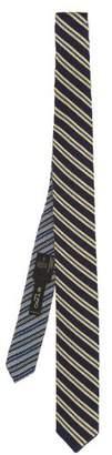 Etro Striped Woven Silk Tie - Mens - Navy Multi