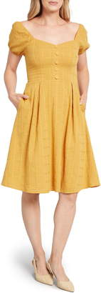 ModCloth Puff Sleeve Fit & Flare Dress