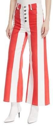 Alice + Olivia Jonelle High-Waist Striped Crop Jeans
