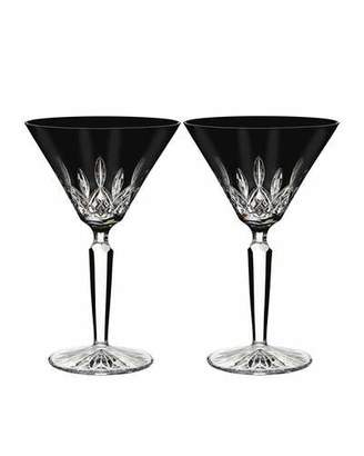 Waterford Crystal Set of 2 Lismore Black Martini Glasses