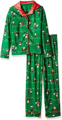 Peanuts Big Girls' Holiday Coat Style Pajama Set