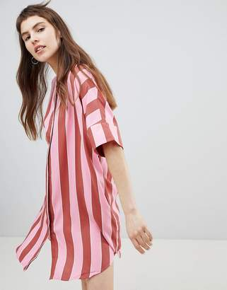 Monki Stripe Button Through Shirt Dress