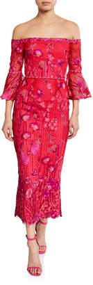 Marchesa Floral Embroidered Lace Off-the-Shoulder Tea-Length Dress