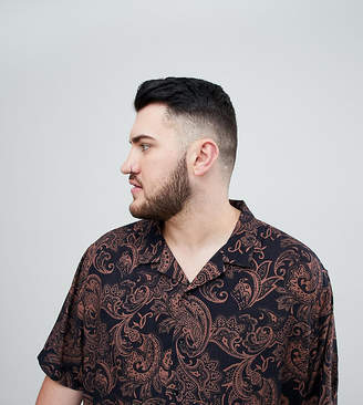 Jacamo Plus Short Sleeve Revere Collar Shirt In Paisley Print