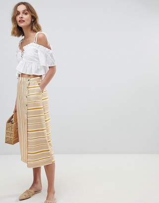 Neon Rose button midi skirt in vintage stripe