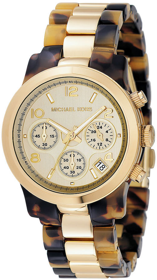 Michael Kors Watch, Women's Chronograph Runway Gold Tone and Tortoise Acrylic Bracelet 38mm MK5138