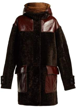 Marni Oversized Hooded Shearling Coat - Womens - Burgundy Multi