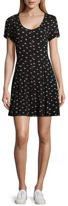 REWIND Rewind Short Sleeve Dots Fit & Flare Dress-Juniors
