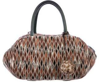 Missoni Leather-Trimmed Woven Satchel