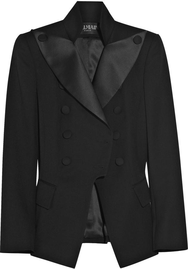 Balmain Double-breasted wool-blend tuxedo jacket