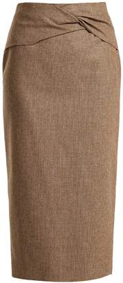 Rochas Knotted high-rise wool-blend pencil skirt