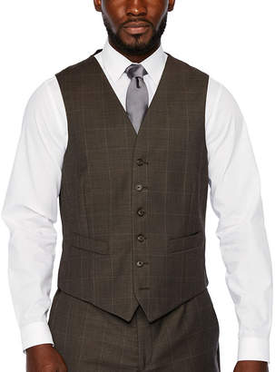 STAFFORD Stafford Brown Windowpane Classic Fit Stretch Suit Vest