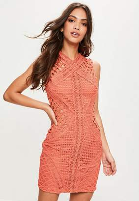 Missguided Orange High Neck Sleeveless Lace Bodycon Dress, Pink