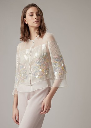 Giorgio Armani Jacket In Silk Organza With Embroidered Sequins And Crystals