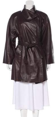 Ponte Vecchio Belted Leather Coat Brown Ponte Vecchio Belted Leather Coat