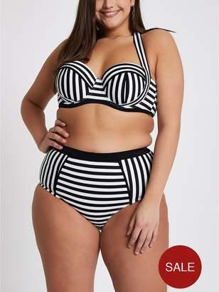 River Island RI Plus Stripe Ruched Halter Bikini Top - Monochrome