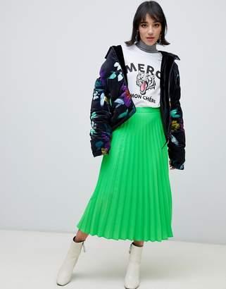 Stradivarius pleat skirt in neon green